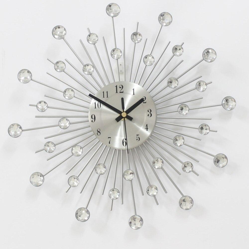 Grosse Horloge Fer Forgé €24.62 10% de réduction|personnalisation personnalisée diamante maison  décorative grande horloge murale quartz en fer forgé horloge murale pour