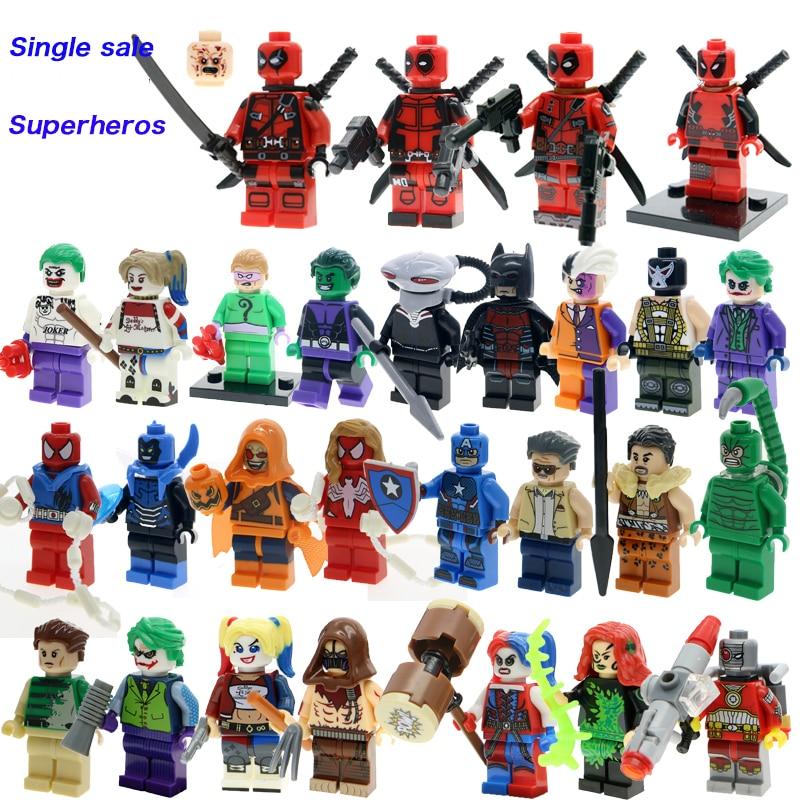 Super Heroes Deadpool X-Men Suicide Squads Harley Quinn Batman Joker Figures Single Sale Legoinglys Building Blocks Children Toy