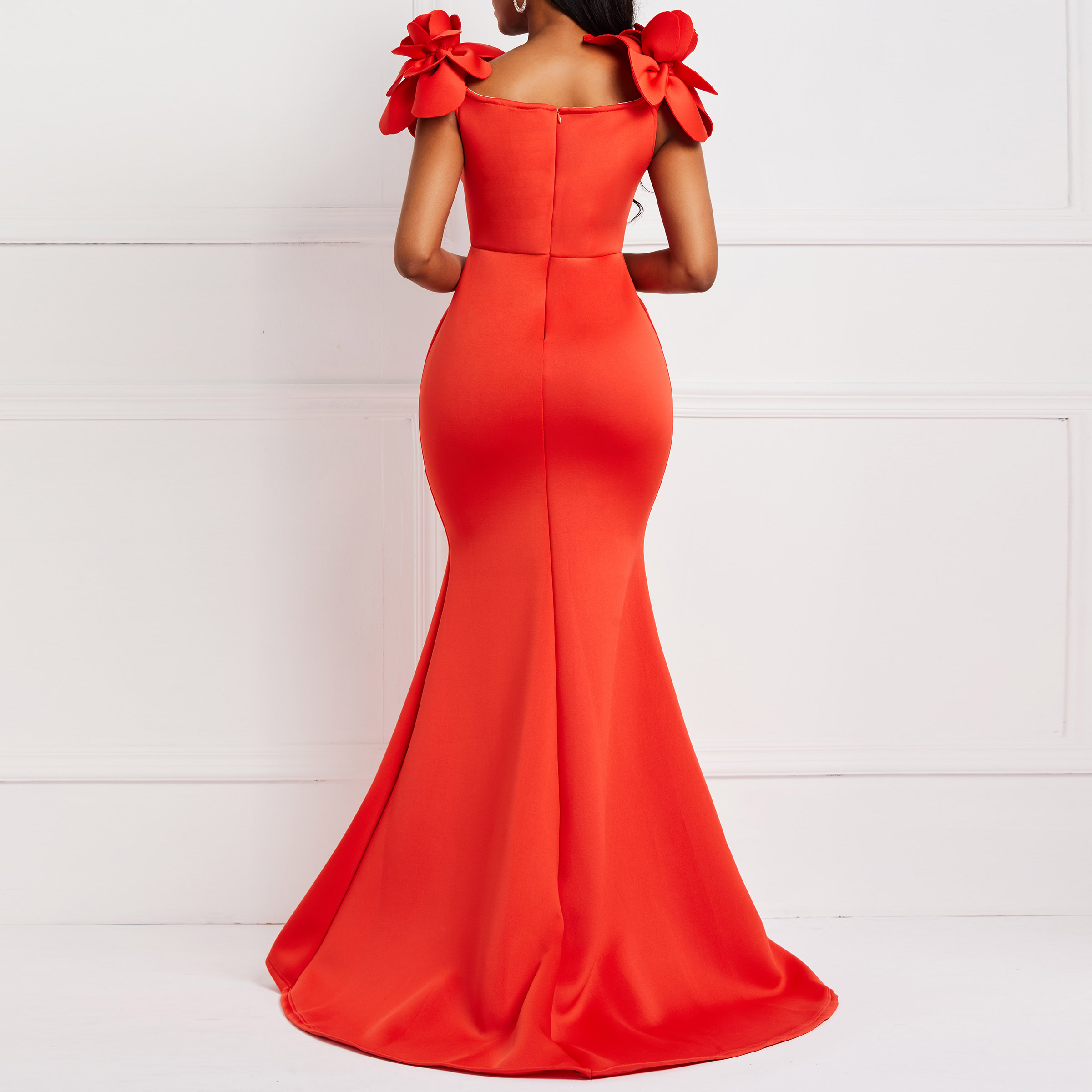 CUERLY Women Sexy Dress Ladies Retro Mermaid Maxi Dress Flower Summer Elegant Stylish Plus Size Bodycon Red Long Party Dresses in Dresses from Women 39 s Clothing