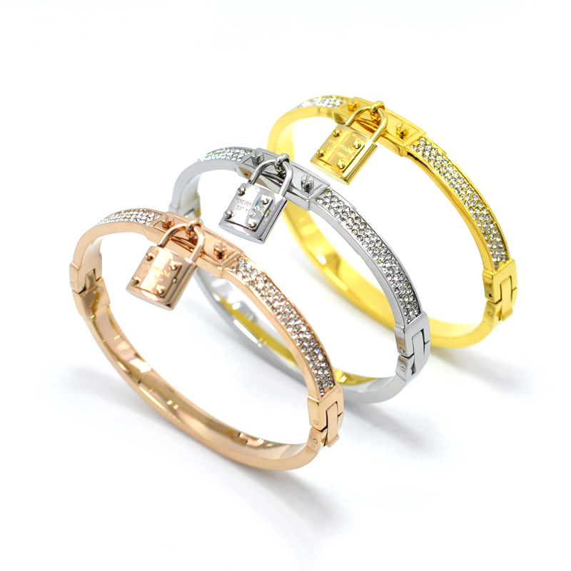 Fashion Jewelry Real Gold Plated Full Crystal Lock Bracelets Bangles Pulseiras Stainless Steel Cz Diamond Bracelet