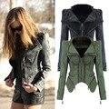 Moda verde do exército/cinza calças de brim jaquetas mulheres casacos de grandes dimensões jaqueta jeans punk chaquetas mujer vintage rebite