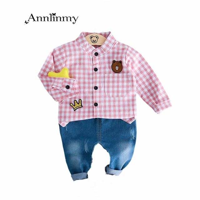 68a3dbb12b0 autumn infants boys clothes set 2018 fashion plaid cartoon shirt blouses  +Solid color denim pants