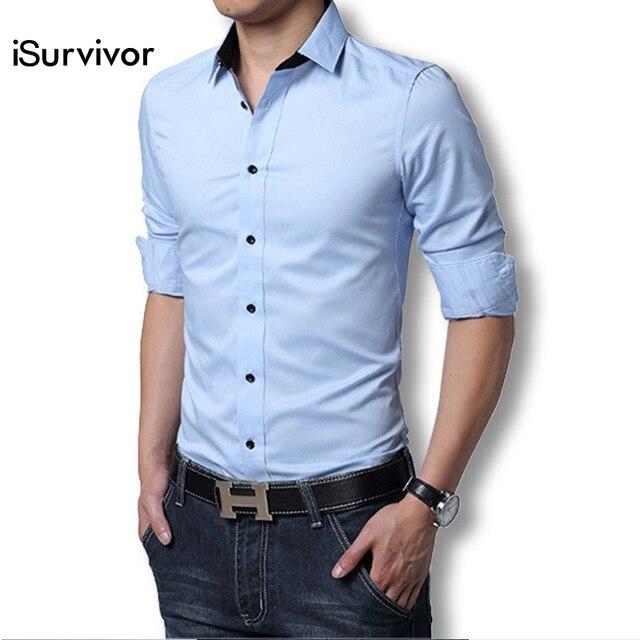 8d105dcbdfd 2016 Men Dress Shirt Elegant Comfort Long Sleeve Men Shirt Cotton Solid Slim  Fit Business Casual