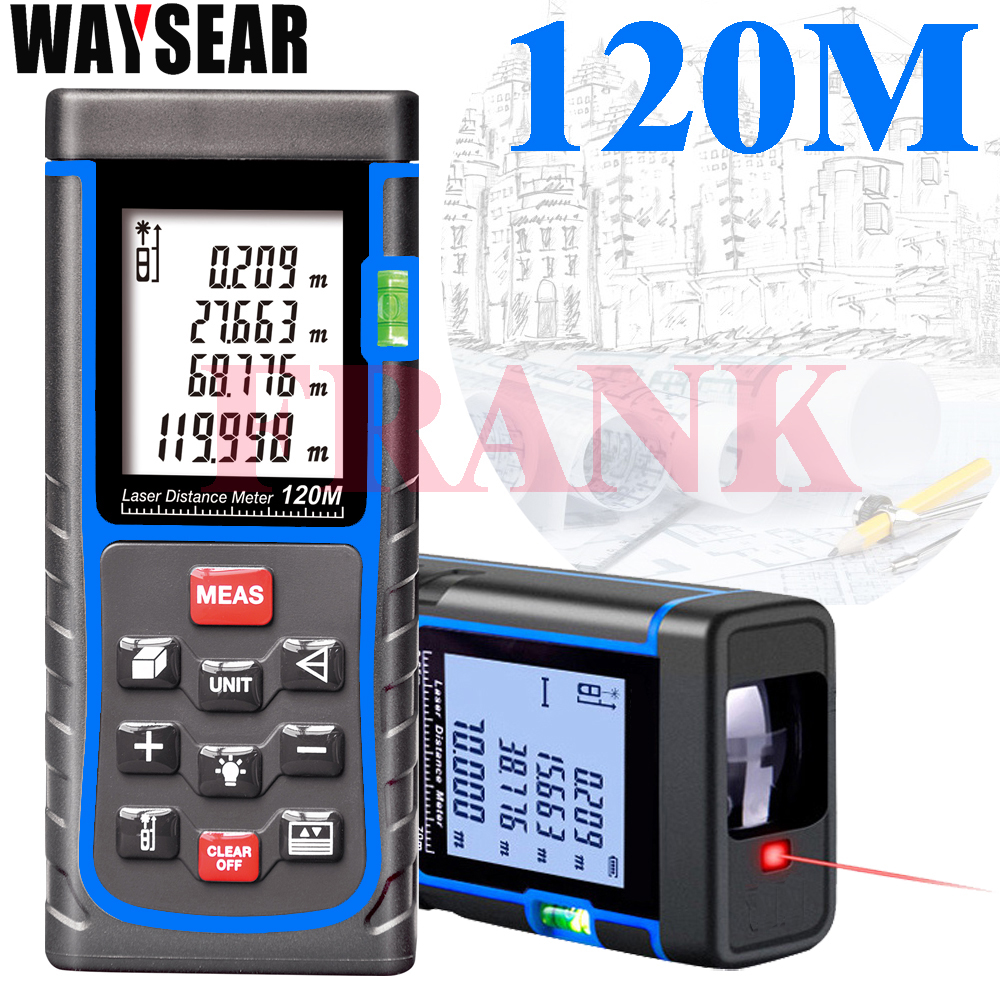 waysear Laser Range Finder Laser Rangefinder 120 M Meter Distance Meter Digital Tape Area-volume-Angle Tester tools Detection laser range finder 40m 60m 80m 100m digital laser distance meter tape area volume angle engineer measure construction tools