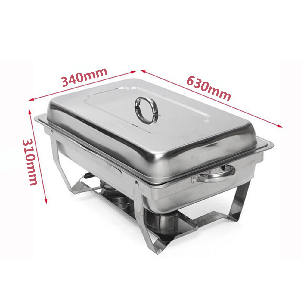 GZZT Chafing Dish Buffet Stoves Caterer 9L 9Quart Stainless Steel Rectangular Restaurant Party Food Warmer Tray Kitchen Tool in Dishes Plates from Home Garden