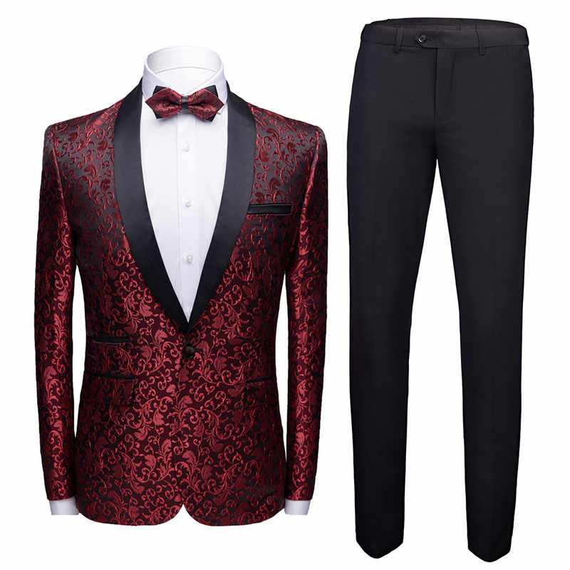 2019 New Mens Suits With Print Brand Burgundy Mens Floral Blazer Designs Mens Blazer Slim Fit Suit Jacket Men Wedding Tuxedos