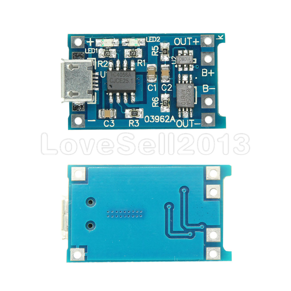2PCS Automatic Protection! 2PCS Micro USB 5V 1A 18650 TP4056 Lithium Battery Charger Module Charging Board With Dual Functions