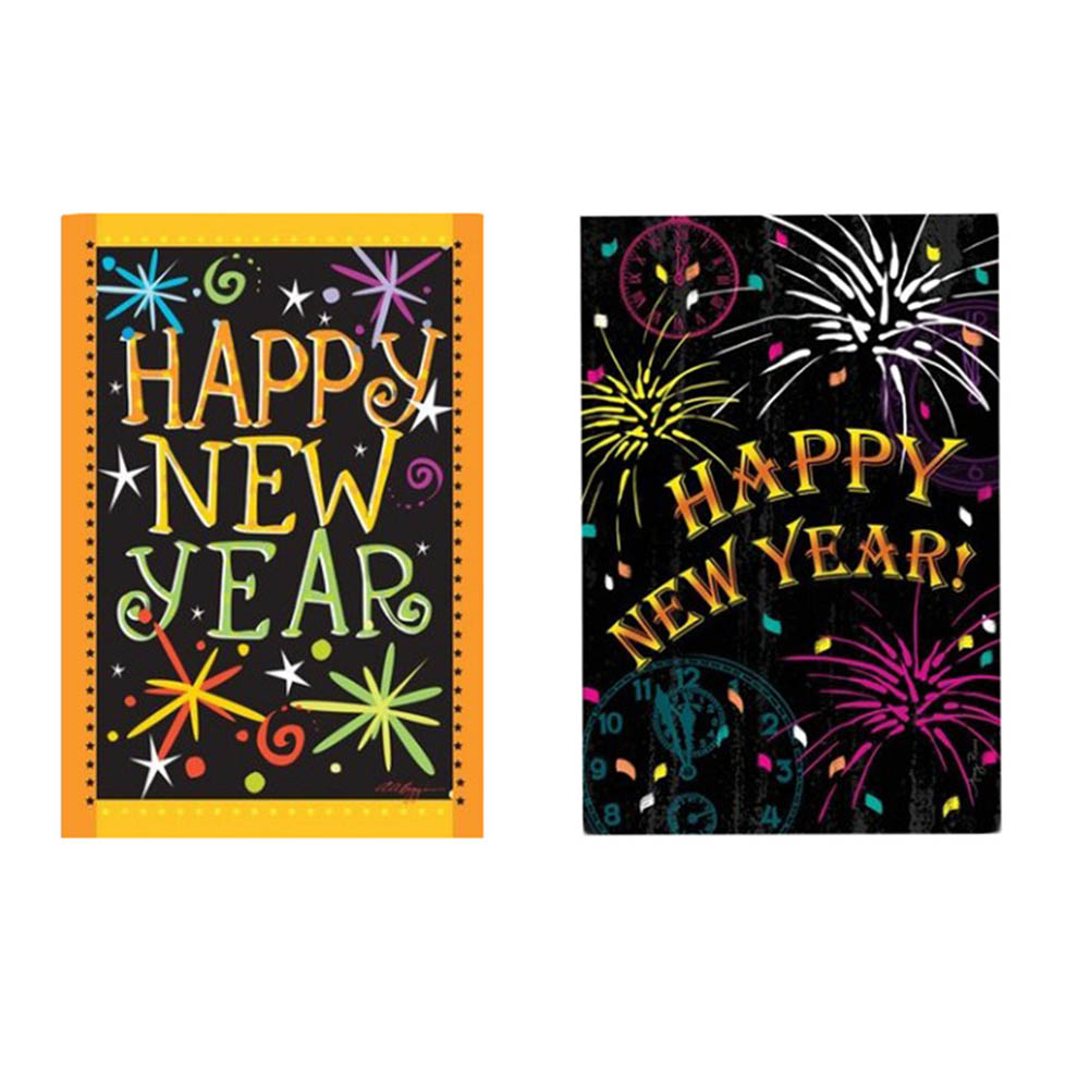 Happy New Year Garden Flag Polyester Christmas Yard Flags ...