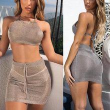 6168797f7 Comparar precios en Two Piece Womens Bodycon Clubwear Crop Top Set ...