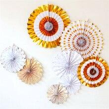 HAOCHU 8pcs Gold Paper Crafts Set Stripe Tissue Paper Fan Flower Birthday Party Holiday