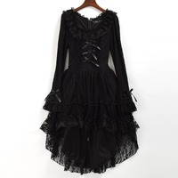 Black Gothic Lolita Dress Women Punk Princess Swallow Tail Lace Costume with Choker
