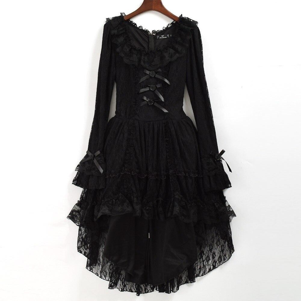 Robe Lolita gothique noire femmes Punk princesse hirondelle queue dentelle Costume avec tour de cou