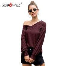 SEBOWEL Casual Women's Knit Tunic Tops Loose Long Lantern Sleeve V Neck T-Shirts Female Basic Top New Autumn Spring 2019 S-XXL navy basic knit round neck t shirts