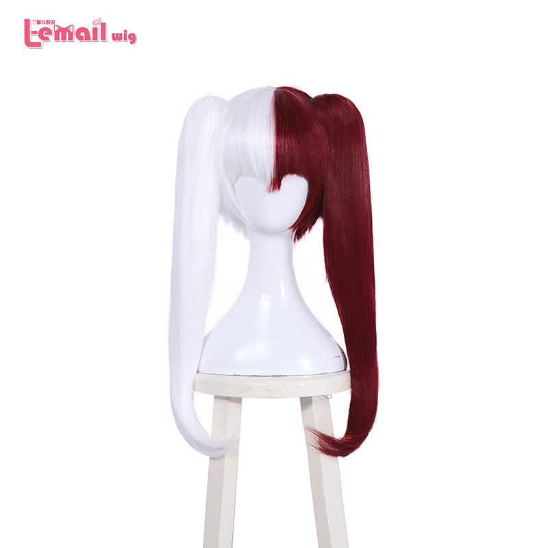 L email wig My Hero Academia Shouto Todoroki White Mixed Red Synthetic Long Clip Ponytails Synthetic Hair Perucas Cosplay Wig