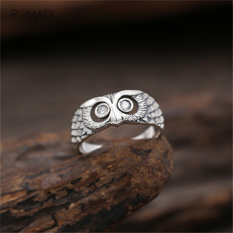Romad Female Small Owl Ring 925 Silver Bridal Finger Ring Wedding Jewelry Promise Love Engagement Rings For Women Girl in Engagement Rings from Jewelry Accessories