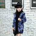 2016 Niñas Nuevo Estilo Coreano Con Capucha de La Moda de Un Solo Pecho Rojo/Gris/Azul de Manga Larga Engrosamiento Abrigo de Invierno para Outwear