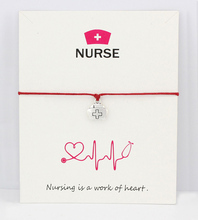 Medical Nurse Hat OT LPN EMT RN Antique Silver Charm Card Bracelets Blue Mint Red Women Men Jewelry Many Styles Choose