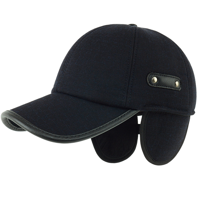 5af0c0e9ac0 Kagenmo Male Winter Hat Thick Wool Ear Protection Men Baseball Cap Winter  Adjustable PU Leather Sun