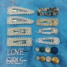 12 Pcs/set Girls Pearl Hair Clip Crystal Rhinestone Clamp Hairpin Acrylic Dot 2 Styles Love Cute Accessories