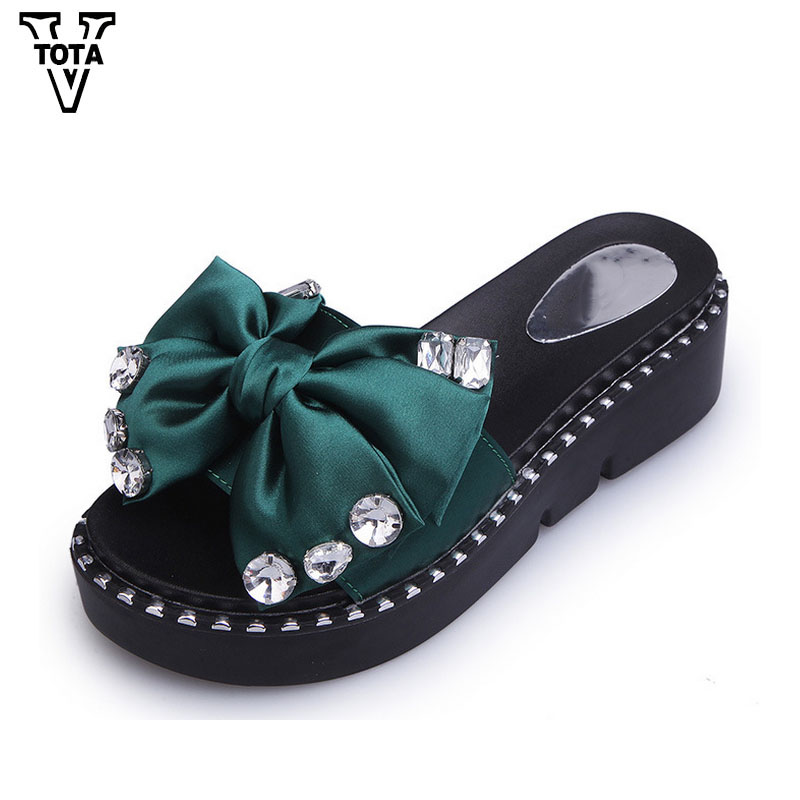 Summer Women's Slippers Middle Heel Women's Shoes Female Sandals Rhinestone Shoes Woman Slides Butterfly-Knot Flip Flops FC37 2 5cm low heel rhinestones slides women sandals shoes 2016 female slippers hoof heel real photo ladies slides new arrival