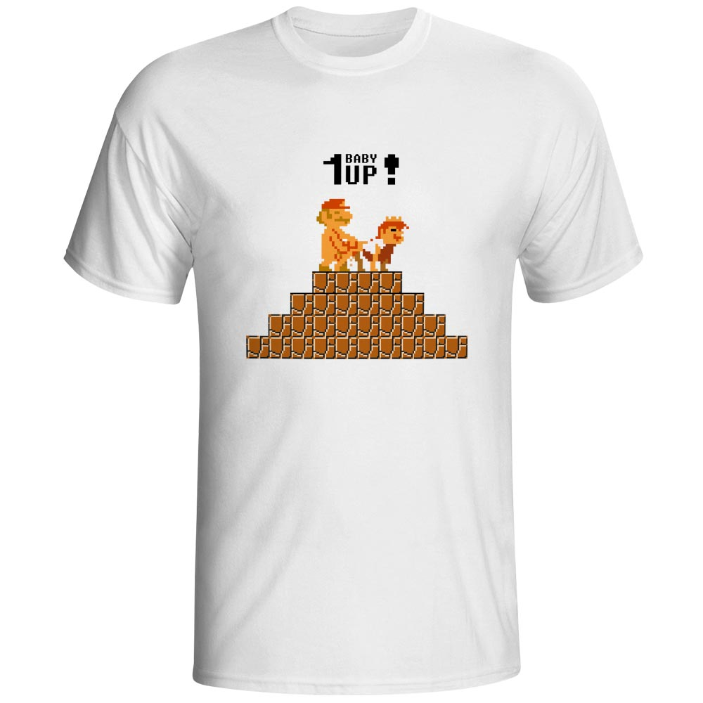We Have One Baby Up   T     Shirt   Mario Making Love With Princess Peach Style Video Game Pixel Art Casual   T  -  shirt   Pop Brand Unisex Tee
