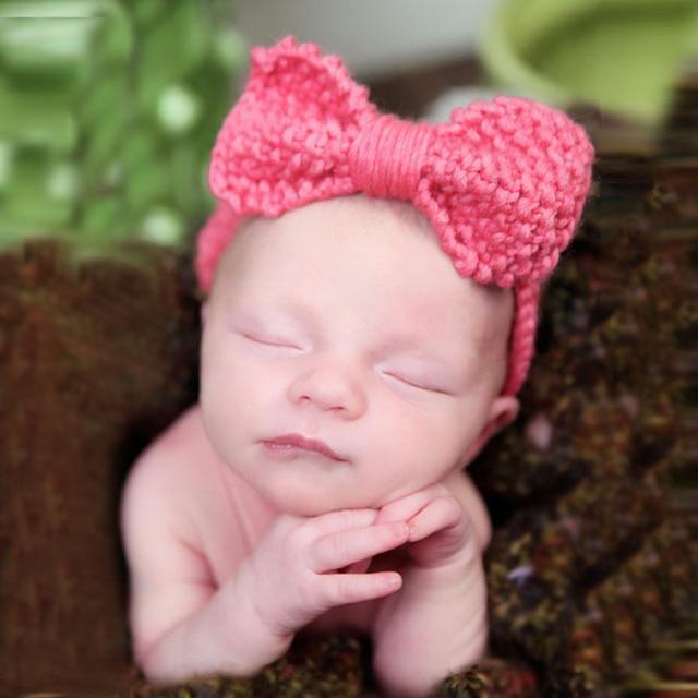 2016 Xmas Kids Girls Crochet Bow Headbands Baby Girl Crochet Bowknot