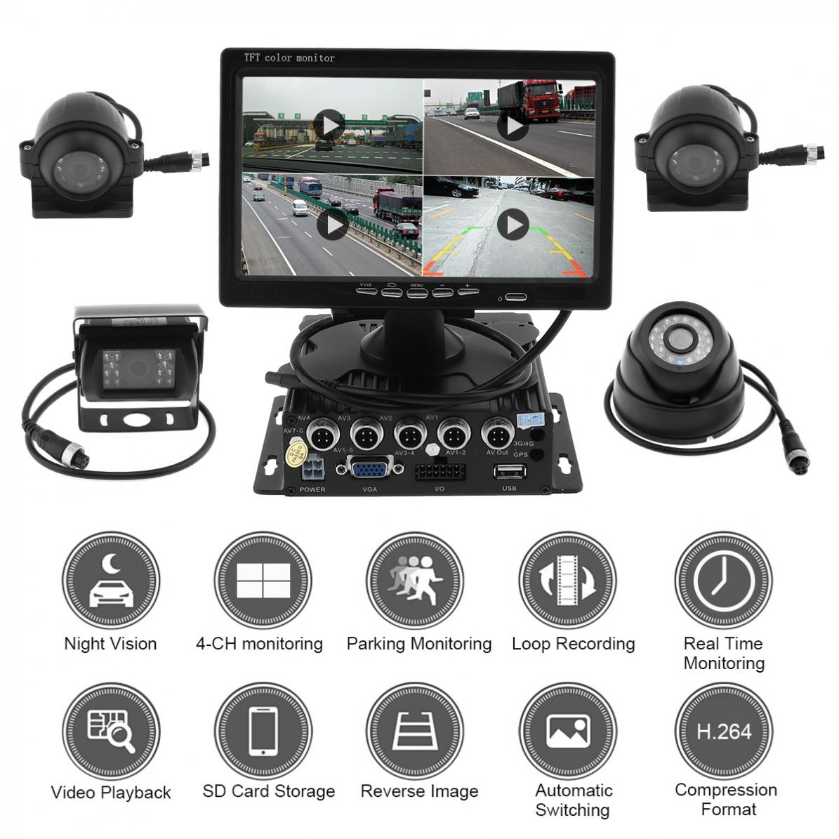 "4x CCD Camera For Car Truck RV 9/"" Quad Split Screen Monitor+Car DVR recorder"