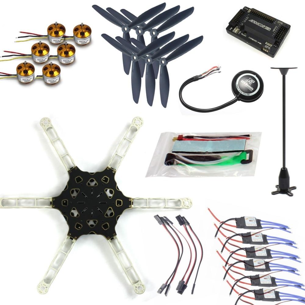 DIY FPV Drone GPS APM2.8 Alien Across Carbon Fiber RC Helicopter Motor ESC F11798-E jmt diy fpv multirotor drone full gps apm2 8 set alien across carbon fiber rc hexacopter flysky fs i6 6ch tx