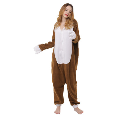 Brown Sloth Onesie Animal Kigurumi Cartoon Pajama Adult Unisex Women Home Wear Polar Fleece Jumpsuit Funny Festival Party Fancy