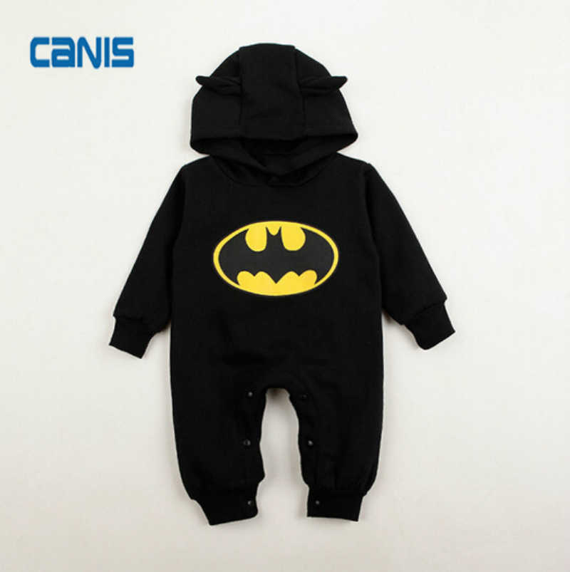 Hot Fashion Cotton Warm Baby Boys Romper Newborn Toddler Kids Long Sleeve Hooded Batman One-piece Cool Super Hero New Clothes
