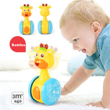 Купить с кэшбэком Baby Rattles Tumbler Doll Baby Toys Sweet Bell Music Roly-poly Learning Education Toys Gifts Baby Bell Baby Toys