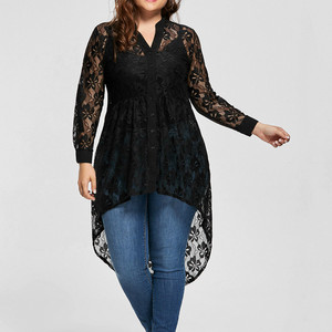 Blusas Femininas Women Ladies Plus Size Blouse Long Sleeve Lace Shirt Perspective Button Up Female Tops Womens clothing New 2020