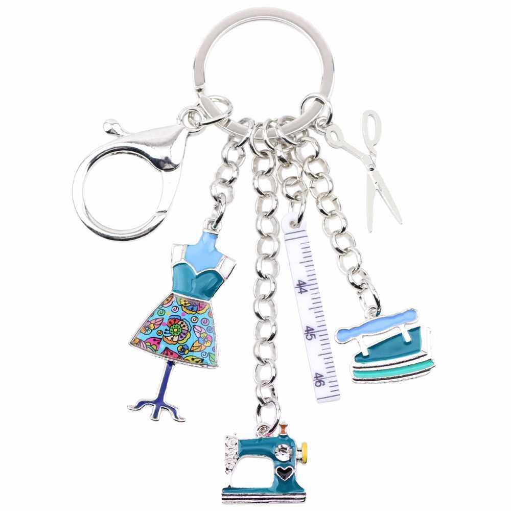 WEVENI Hợp Kim May máy Công Cụ Cắt Kéo Flatiron Key Chains Nhẫn Quà Tặng Cho Phụ Nữ Cô Gái Túi Quyến Rũ Keychain Quyến Rũ Keyring Đồ Trang Sức