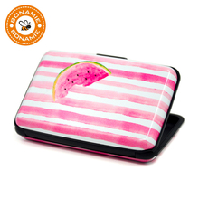 BONAMIE New Watermelon Aluminum Business ID Credit Card Case Holder Brand Metal Wallet Anti RFID Box For Men Women Flamingo