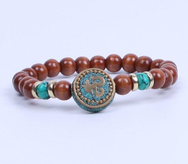 Joyería Vintage cuentas de madera pulsera elástica Nepal OM pulsera Yoga joyería