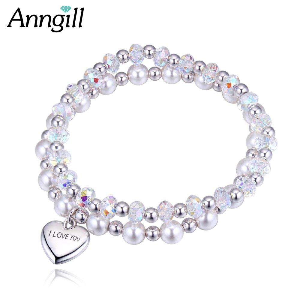 Genuine 100% Crystals from Swarovski Beaded Bracelets Bangles Set Heart Pendant Charm Bracelet Multilayers Pulseras Women цена