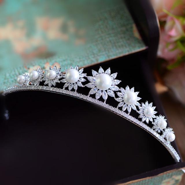 O girassol completa zircon micro pave cz crown headband da tiara da noiva acessórios do cabelo do casamento jóias tiaras coroa diadema wigo0954