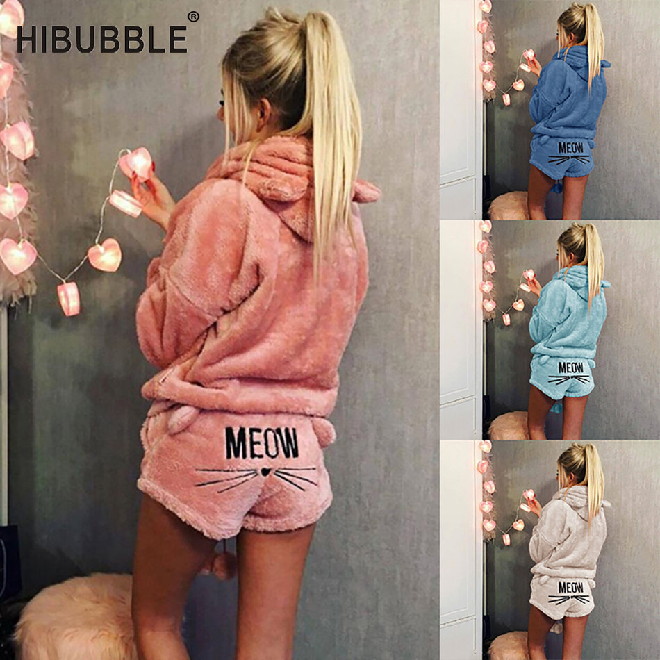 Women   Pajamas     Set   2019 Autumn Winter Warm Pyjamas Women Fleece Pijamas Femme Sexy Lingerie Cat Pijama Mujer Sleepwear Homewear