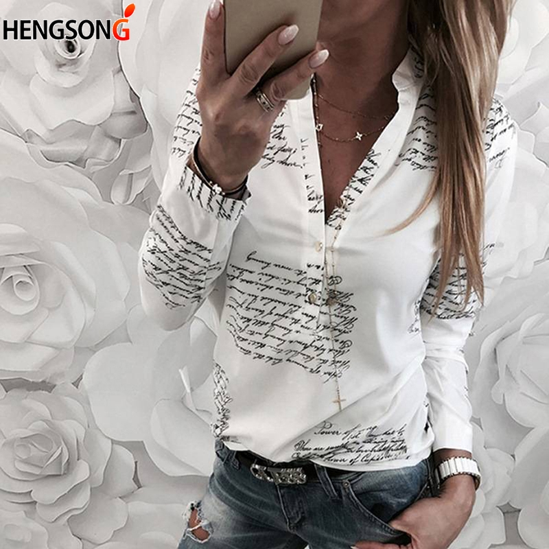 Women Shirts 2019 Spring Summer New Long Sleeve English Alphabet Print White Blouses Shirts Womens Tops Blusas Feminine Blouse Finely Processed Women's Clothing