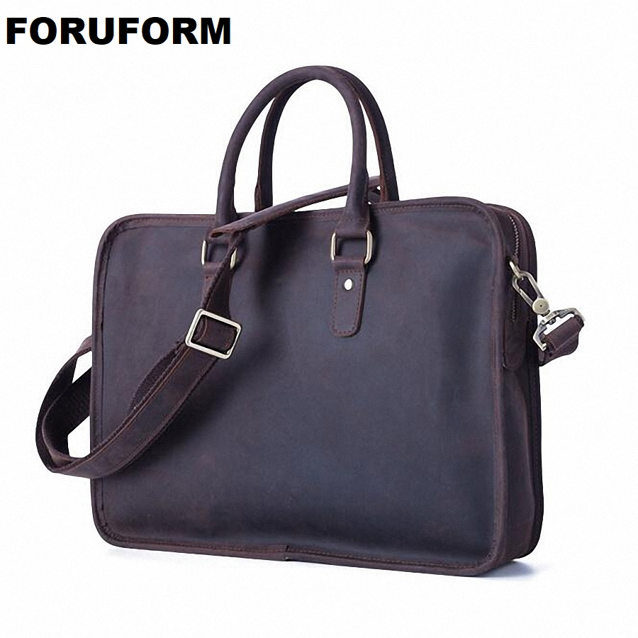 Vintage Men Shoulder Bag 100% Genuine Leather Briefcase Cowhide Travel Messenger Bag Crazy Horse Leather Business Bag LI-1777 contact s brand 2018 hot genuine crazy horse cowhide leather men messenger bag high quality shoulder bag for vintage travel bag