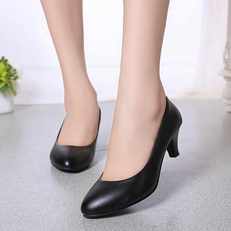 Bằng sáng chế Da Thấp Gót Giày Nữ Chuyên Nghiệp Giày Nữ Dẹt Giày Công Sở Đen Trắng Đỏ Bốn Mùa Giày Công Sở