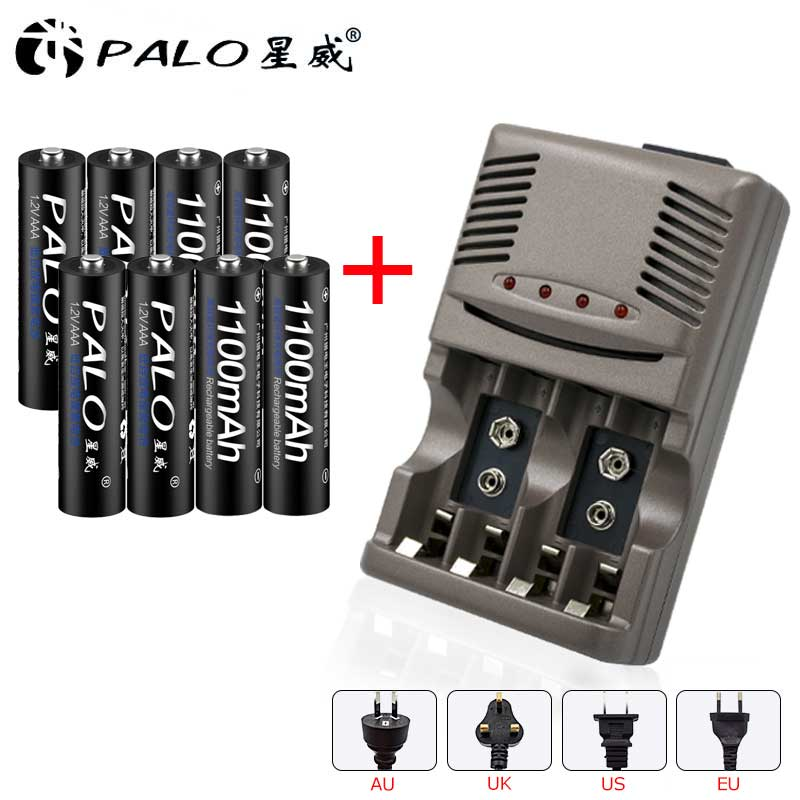 PALO LED Light Smart Charger For NI-MH NI-CD AA/AAA/LI-ION 9V 6F22 Rechargeable Batteries + 8pcs AAA 1100mAh chargeable Battery 8pcs 9v rechargeable 780mah lithium ion battery 1pcs smart charger with adapter