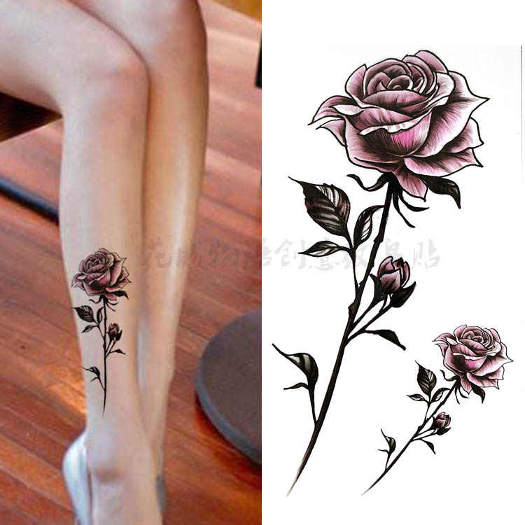 Black Flower Red Rose Body Art Waterproof Temporary Sexy Tattoos For Woman Flash Tattoo Stickers 10*20CM KD1144