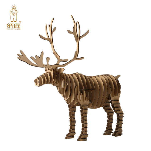 3d puzzle deer christmas reindeer decoration toy craft kids and adults diy cardboard animal paper model