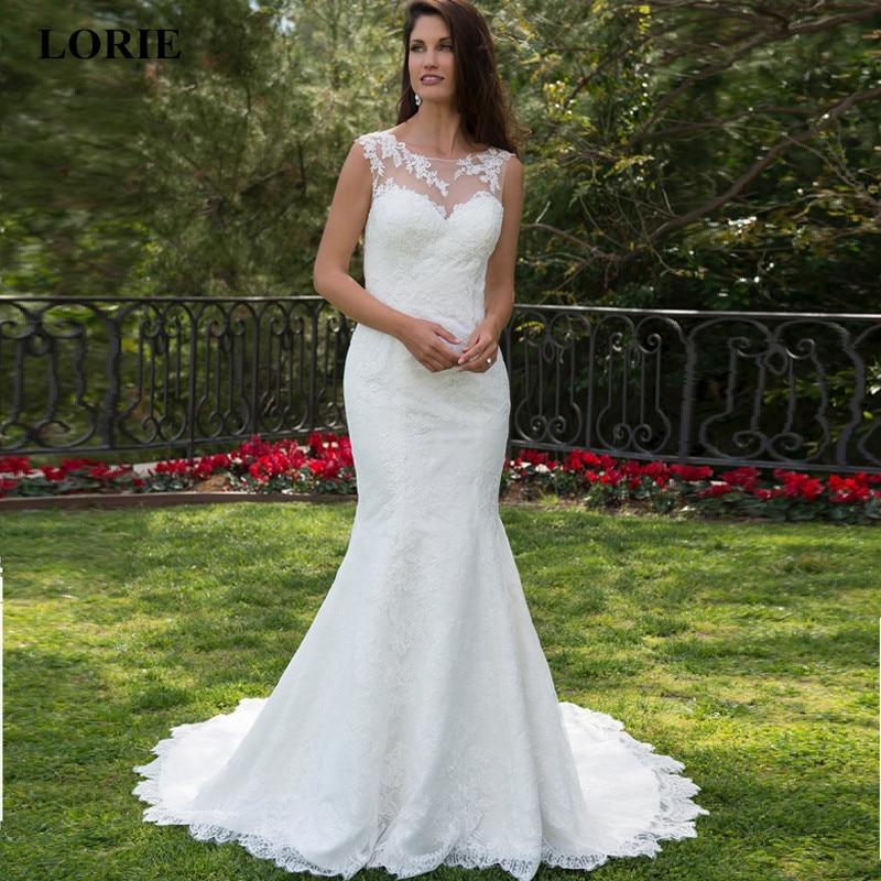 Cheap White Ivory Wedding Dresses Mermaid Lace Appliques: LORIE Mermaid Wedding Dress 2019 Summer Wedding Dress Lace