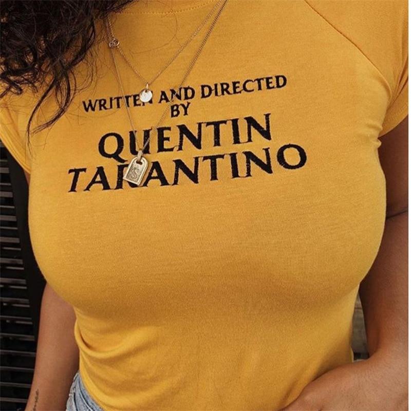 written-and-directed-by-quentin-font-b-tarantino-b-font-sexy-women-t-shitr-slim-round-neck-yellow-fashion-gift-funny-hotmess-tops-harajuku
