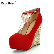 Бесплатная доставка высокий каблук клин женская обувь сексуальное платье модной обуви леди женщина насосы P11976 горячей продажи ЕВРО размер 34-39