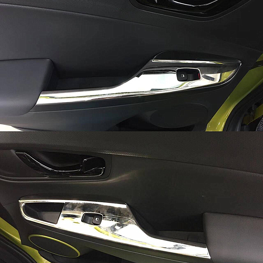 JY 4PCS SUS304 Stainless Steel Window Lift Control Panel Cover Trim Car Styling Accessories For HYUNDAI KONA 2018