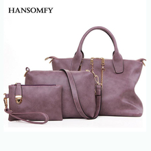 HANSOMFY Three Piece Bag Set Women Handbags Fashion Chain Leather Totes Clutches Messenger Bag High Quality