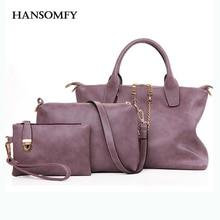 Hansomfy tres piezas conjunto de bolsas cadena de moda los bolsos de cuero de las mujeres totes + embragues + bolsa de mensajero de alta calidad bolsas de mano bolsa sac